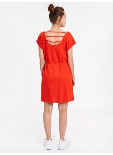 LC Waikiki Beli Bağlama Detaylı Pamuklu Elbise Kırmızı